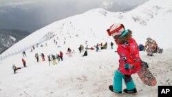 Arena ski di resor Rosa Khutor di Krasnaya Polyana, Rusia.