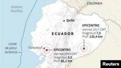 Peta lokasi gempa di Ekuador.