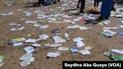 Au centre de Darou khoudoss, saccagé à Touba, au Sénégal, le 30 juillet 2017. (VOA/Seydina Aba Gueye)