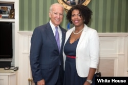 Kassie Edwards with Vice President Joe Biden, Sept. 9, 2014, (White House Photo / David Lienemann)