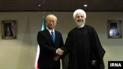 دیدار یوکیا آمانو مدیر کل آژانس بین المللی انرژی اتمی با حسن روحانی رییس جمهوری ایران در تهران - ۱۱ تیر ۱۳۹۴