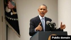 바락 오바마 미국 대통령이 지난 3일 백악관에서 이란 핵 협상 합의에 관한 입장을 밝히고 있다.