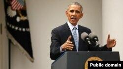 오바마 대통령이 지난 2일 백악관에서 이란 핵합의 성과에 대해 설명하고 있다