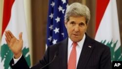 美国国务卿克里在会见黎巴嫩总理后发表谈话