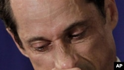 A teary US Rep. Anthony Weiner, D-N.Y., addresses a news conference in New York, Monday, June 6, 2011.
