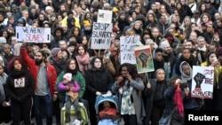 Protesters attend a demonstration against slavery in Libya, in Stockholm, Sweden, Nov. 25, 2017.