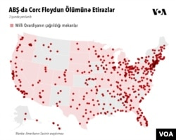 ABŞ-da etirazlara nəzarət etmək üçün Milli Qvardiyanın çağrıldığı məkanlar