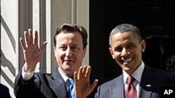 美國總統奧巴馬在倫敦和英國首相卡梅倫會晤