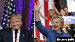 FILE - A new Quinnipiac University poll shows tight competition in Florida, Ohio and Pennsylvania for opposing presidential candidates Republican Donald Trump, left, and Democrat Hillary Clinton.