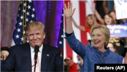 Left, in this combo picture, Republican presidential candidate Donald Trump speaks to supporters at Mar-a-Lago Club in Palm Beach, Florida, while, right, Democratic U.S. presidential candidate Hillary Clinton speaks at a rally in West Palm Beach, Florida, March 15, 2016.