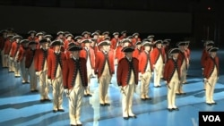美国陆军乐队准备就职典礼(视频截图)