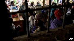 Congolese refugees, displaced by fighting in Congo's North Kivu province, at Nkamira transit centre, Rwanda, May 5, 2012.
