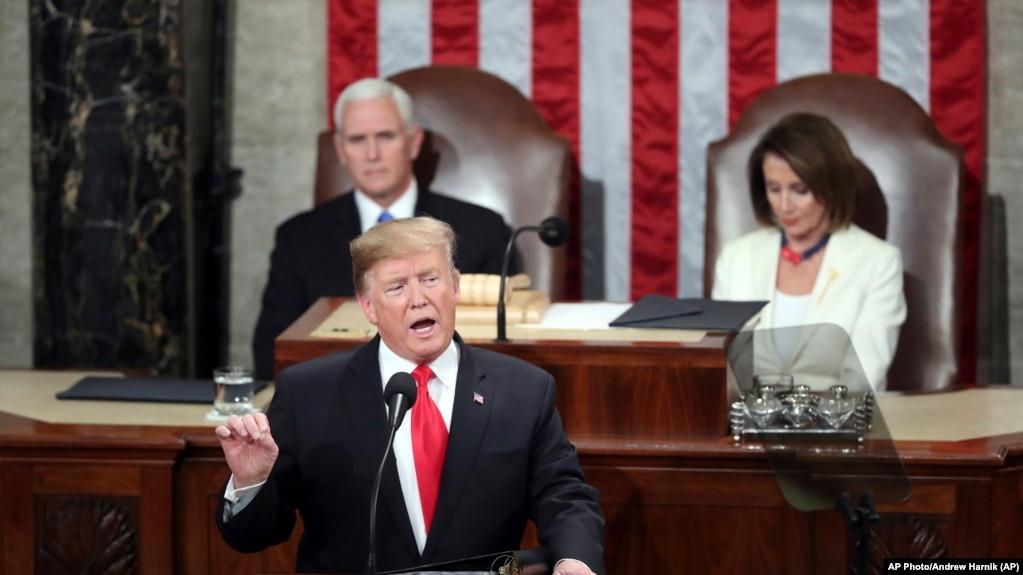 Tổng thống Donald Trump phát biểu tại Quôc hội Hoa Kỳ tối ngày 5/2/2019.