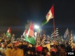 اسلام آباد میں آزادی مارچ کے داخل ہونے کا ایک منظر