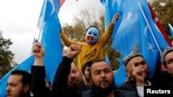 來自新疆的維吾爾人2018年11月6日在土耳其伊斯坦布爾舉行抗議