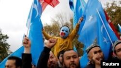 İstanbul'da Uygur Türkleri tarafından yapılan protesto