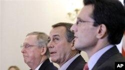美国国会的共和党领导人周二参加国会山的记者会