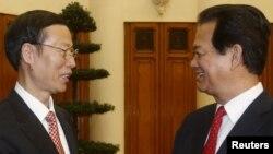 Thủ tướng Việt Nam Nguyễn Tấn Dũng đón tiếp Phó Thủ tướng Trung Quốc Trương Cao Lệ.