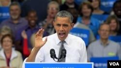 Barak Obama Sinsinnatida saylovchilar oldida nutq so'zlamoqda, 17-sentabr, 2012-yil.
