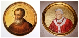 A combination picture of mosaics depicting Saint Celestine V (L) and Pope Benedict XVI taken Feb. 11, 2013.
