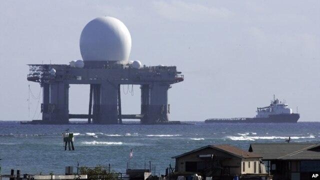 하와이 해상에 설치된 엑스 밴드 레이더. (자료사진)