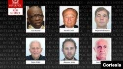 En esta foto de la Interpol aparecen los fugitivos en el caso del escándalo de la FIFA, entre ellos Burzaco. [Foto: Cortesía, Interpol].