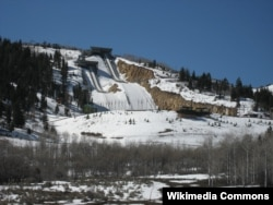 2018 평창 동계올림픽에 참가했던 미국 선수들의 훈련지인 유타주 올림픽 공원에 눈이 덮혀있다.