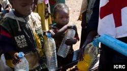 Distribution d'eau par le CICR aux enfants qui, avec leurs parents, ont fui Ndélé