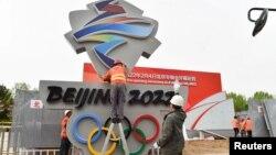 Công nhân chuẩn bị cho Olympic Bắc Kinh 2022.