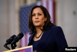 U.S. Senator Kamala Harris launches her campaign for President of the United States at a rally at Frank H. Ogawa Plaza in her hometown of Oakland, California, Jan. 27, 2019.