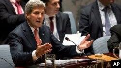 존 케리 미국 국무장관이 지난 19일 뉴욕 유엔 본부에서 열린 안보리 회의를 주재하고 있다. (자료사진)