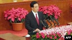 Kineski predsednik Hu Đintao drži govor u Velikoj sali naroda, u pekingu, povodom 90. godišnjice Kineske komunističke partije