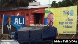 Campagne d'affichage dans les rues de Libreville, 26 août 2016. (VOA/Idriss Fall)