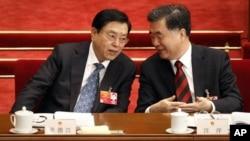 張德江(左)與汪洋在一次會議上(資料照片)