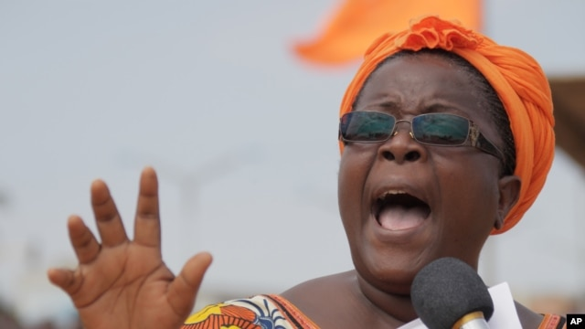Opposition leader Isabelle Ameganvi calls on Togo's women to observe a one-week sex strike in Togo to demand the resignation of the country's president, August 25, 2012