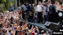 Juan Guaido, président de l'Assemblée nationale vénézuélienne, du parti d'opposition Voluntad Popular, lors d'un rassemblement à Caracas, le 11 janvier 2019. (REUTERS/Manaure Quintero)