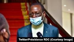 Sylvestre Ilunga Ilunkmba nsima na kolongwa na ebonga ya Ministre wa yambo, na Palais de nation, Kinshasa, RDC, 29 janvier 2021. (Twitter/Présidence RDC)