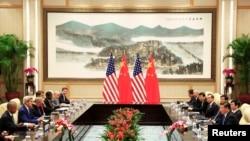美国总统奥巴马和中国国家主席习近平在G20峰会前在西湖国宾馆举行了三个多小时的会谈(2016年9月3日)