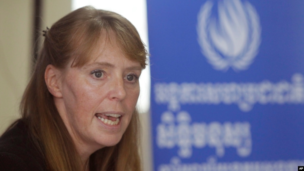 FILE: UN Special Rapporteur on the Situation of Human Rights in Cambodia Rhona Smith speaks during a press conference at her main office in Phnom Penh, Cambodia, Wednesday, Oct. 19, 2016.