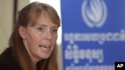 FILE-UN Special Rapporteur on the Situation of Human Rights in Cambodia Rhona Smith speaks during a press conference at her main office in Phnom Penh, Cambodia, Wednesday, Oct. 19, 2016.