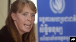 UN Special Rapporteur on the Situation of Human Rights in Cambodia Rhona Smith speaks during a press conference at her main office in Phnom Penh, Cambodia, Wednesday, Oct. 19, 2016.