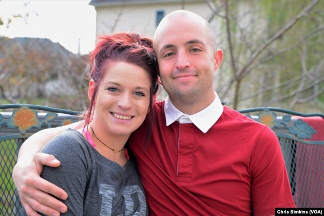 Josh Bell, seen here with his girlfriend, Brianna Fauley, in Loudoun County, Va., Nov. 6, 2017, is a recovering opioid addict. He became addicted to heroin soon after being given powerful pain pills at the emergency room after he hurt his neck in a car accident.