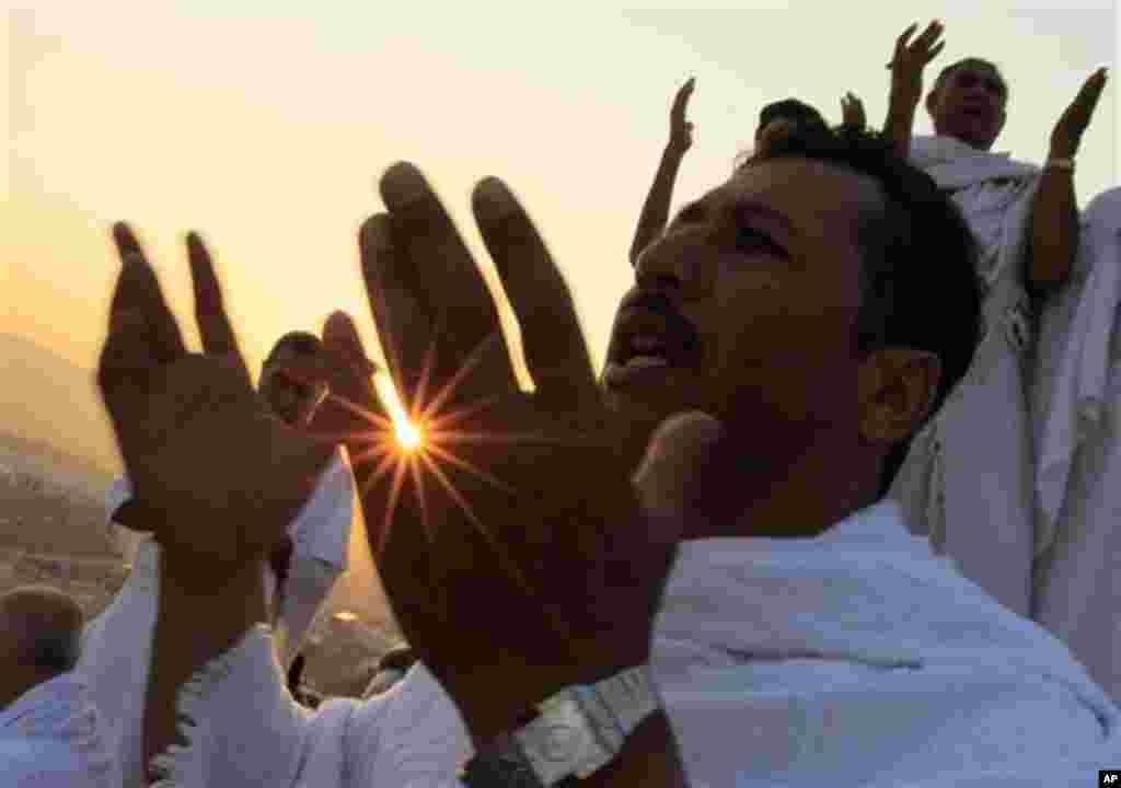 Des pèlerins musulmans sur le mont Arafat.