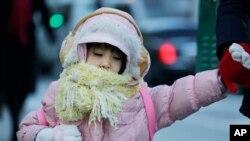 Seorang anak perempuan dengan pakaian tebal dan berlapis memegang tangan ibunya dalam perjalanan ke sekolahnya di New York (8/1/2015).
