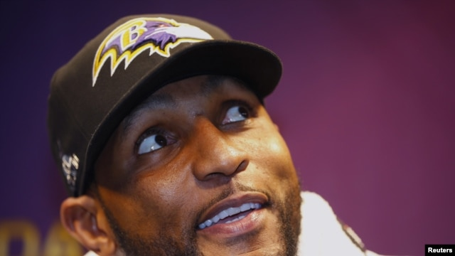 Baltimore Ravens inside linebacker Ray Lewis speaks to journalists during Media Day for the NFL's Super Bowl XLVII in New Orleans, Louisiana Jan. 29, 2013.