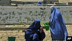 Two Afghan women water the soil at the Qalat Department of Women's Affairs, in the Zabul Province of Afghanistan, May 8, 2011