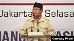 """Prabowo Subianto berbicara dalam acara """"Mengungkap Fakta-Fakta Kecurangan Pilpres 2019"""" di Hotel Grand Sahid Jaya, Jakarta, Selasa (14/5) (BPN Prabowo-Sandi)."""