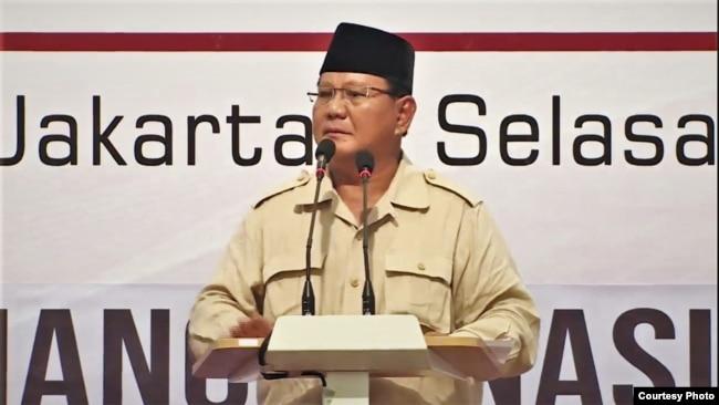 """Capres 02 Prabowo Subianto berbicara dalam acara """"Mengungkap Fakta-Fakta Kecurangan Pilpres 2019"""" di Hotel Grand Sahid Jaya, Jakarta, Selasa (14/5) (BPN Prabowo-Sandi)."""