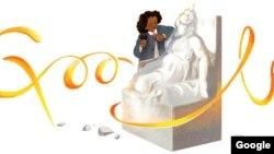 لوگوی گوگل در تجلیل از ادمونیا لوئیس ، نخستین سیاه پوست با ریشه های سرخپوستی که در عرصه هنرهای زیبا به شهرتی جهانی رسید
