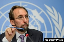 FILE - U.N. High Commissioner for Human Rights, Jordan's Zeid Raad al-Hussein